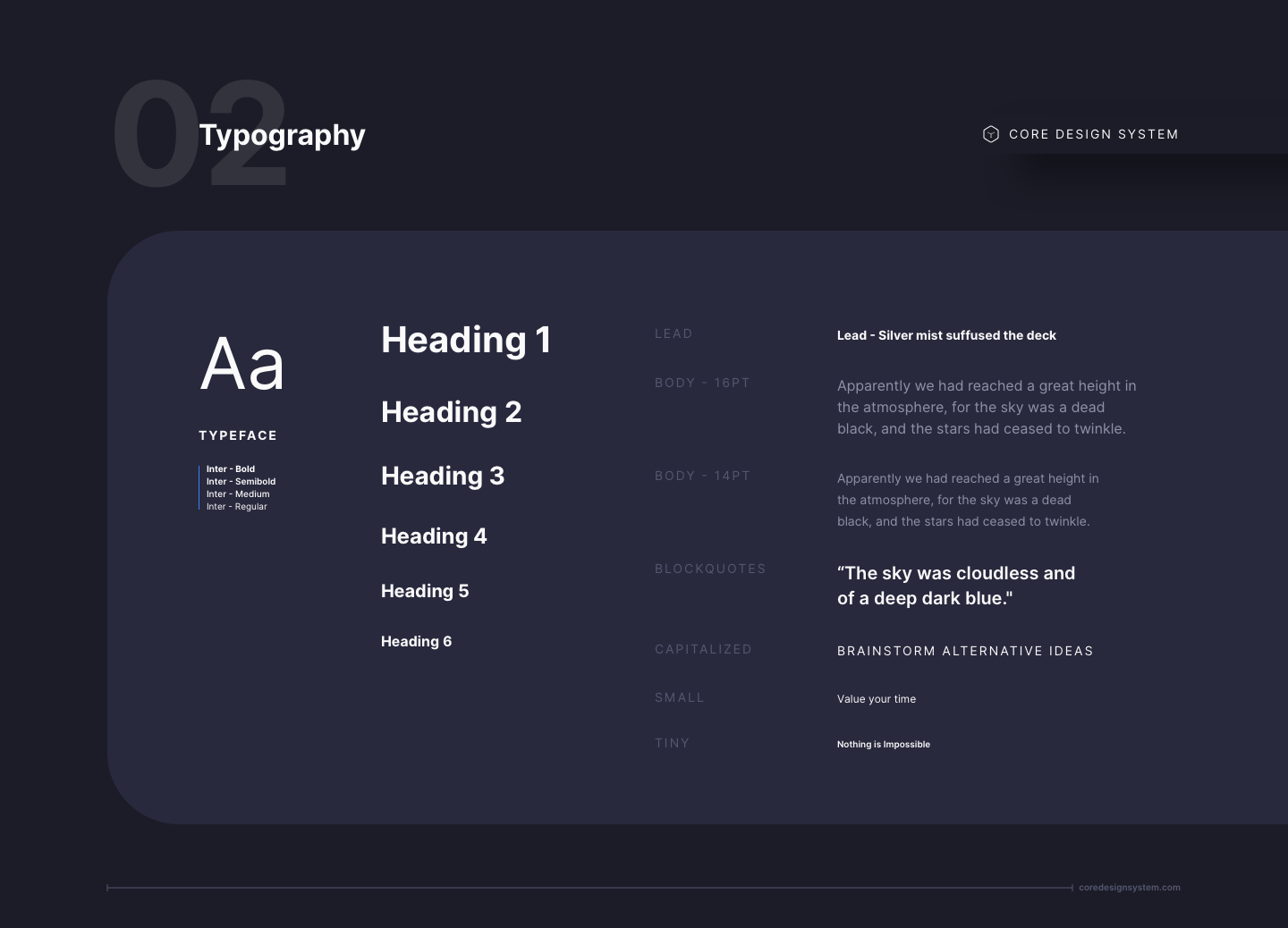 UI Typography in dark theme