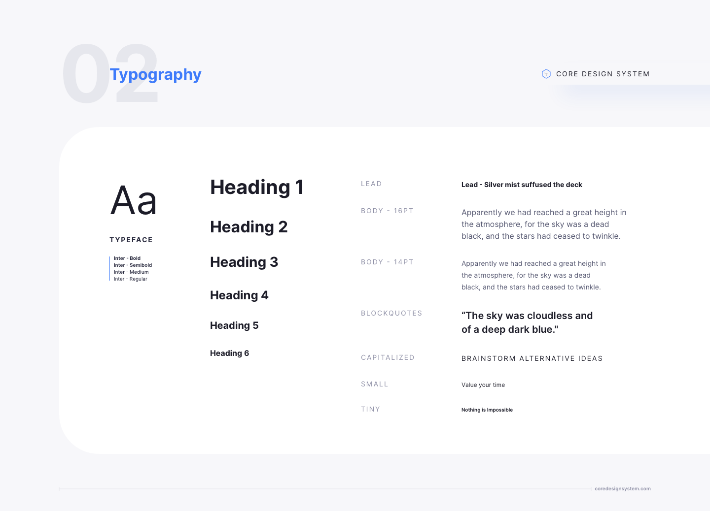UI Typography in light theme
