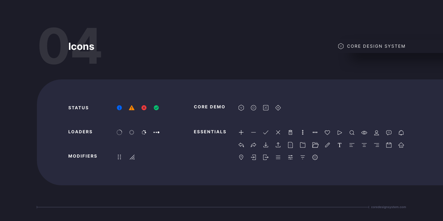 Icon Set UI Component in dark theme
