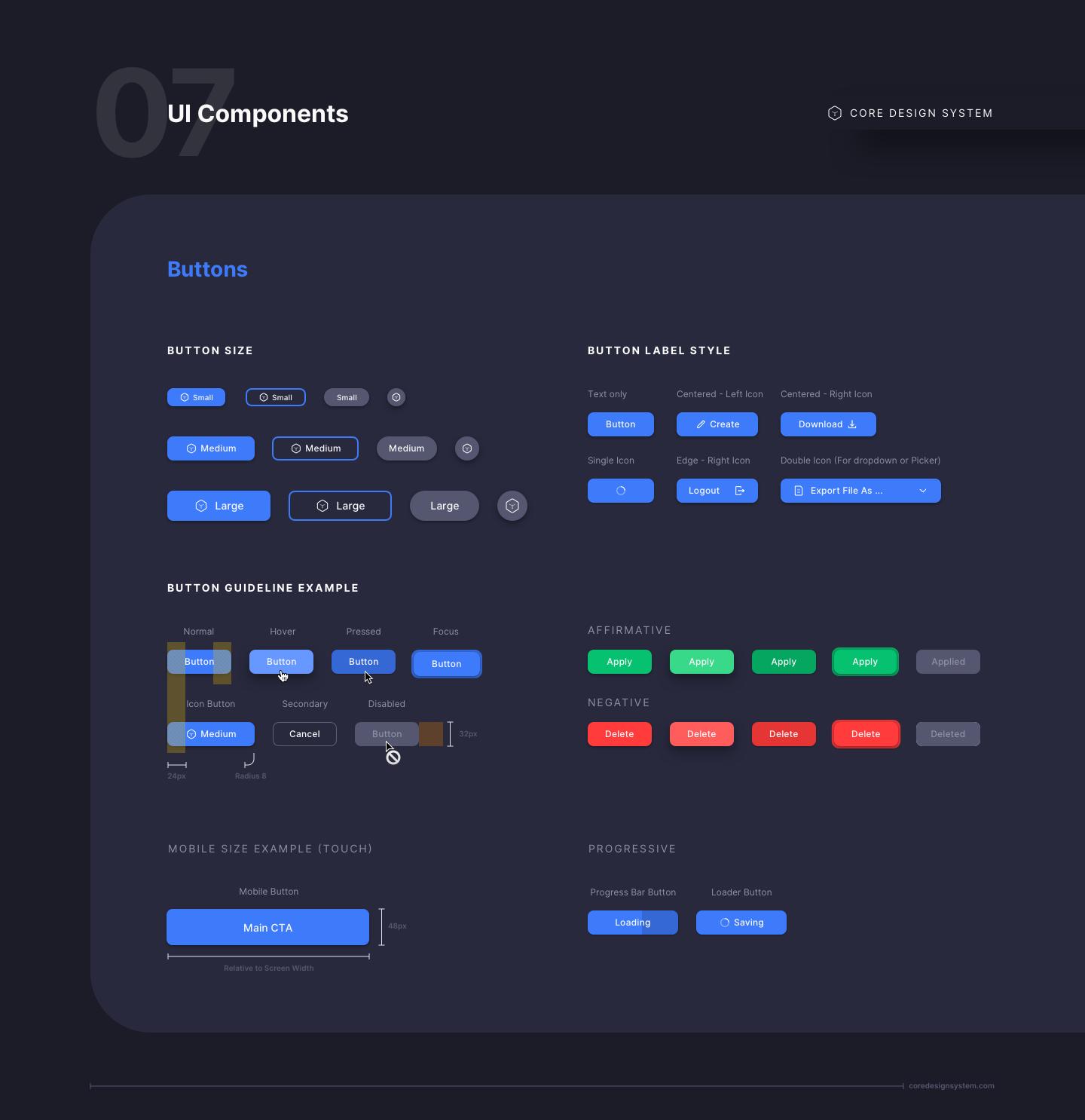 Button UI Component in dark theme
