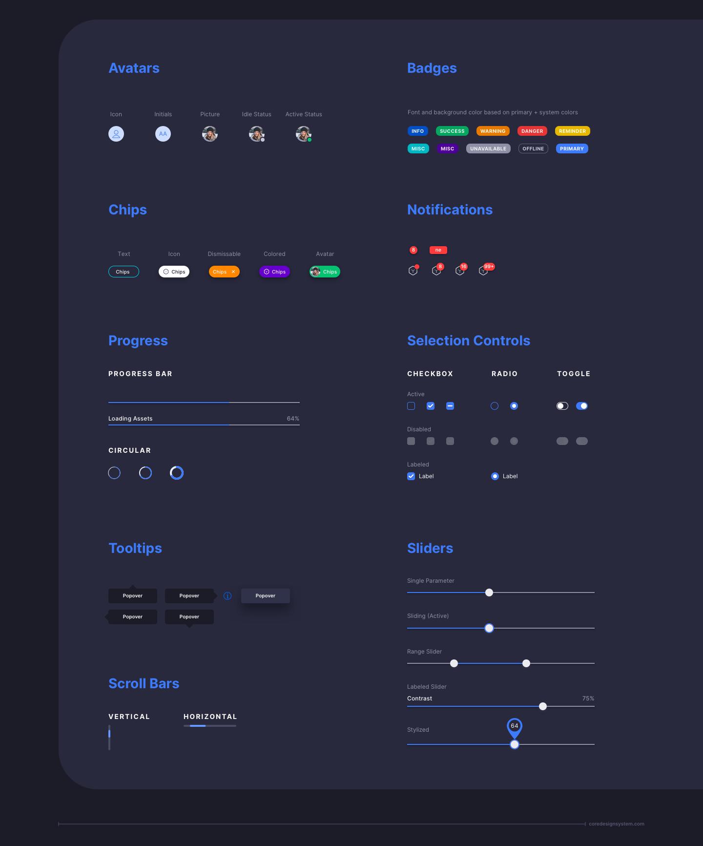 Avatars UI Component in dark theme