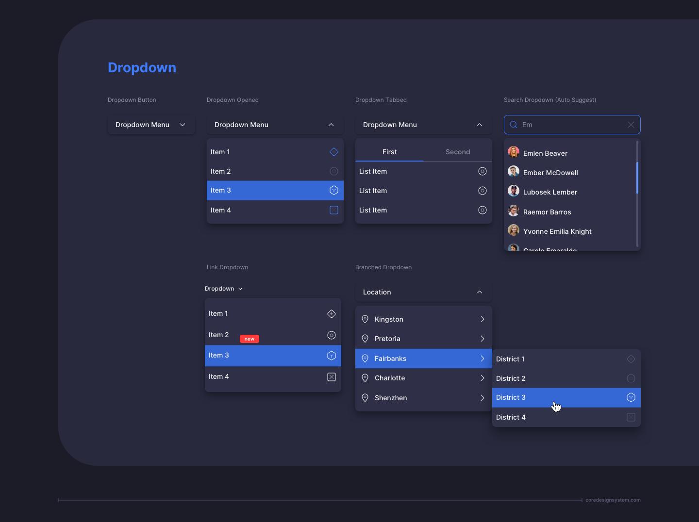 Dropdown UI Component in dark theme