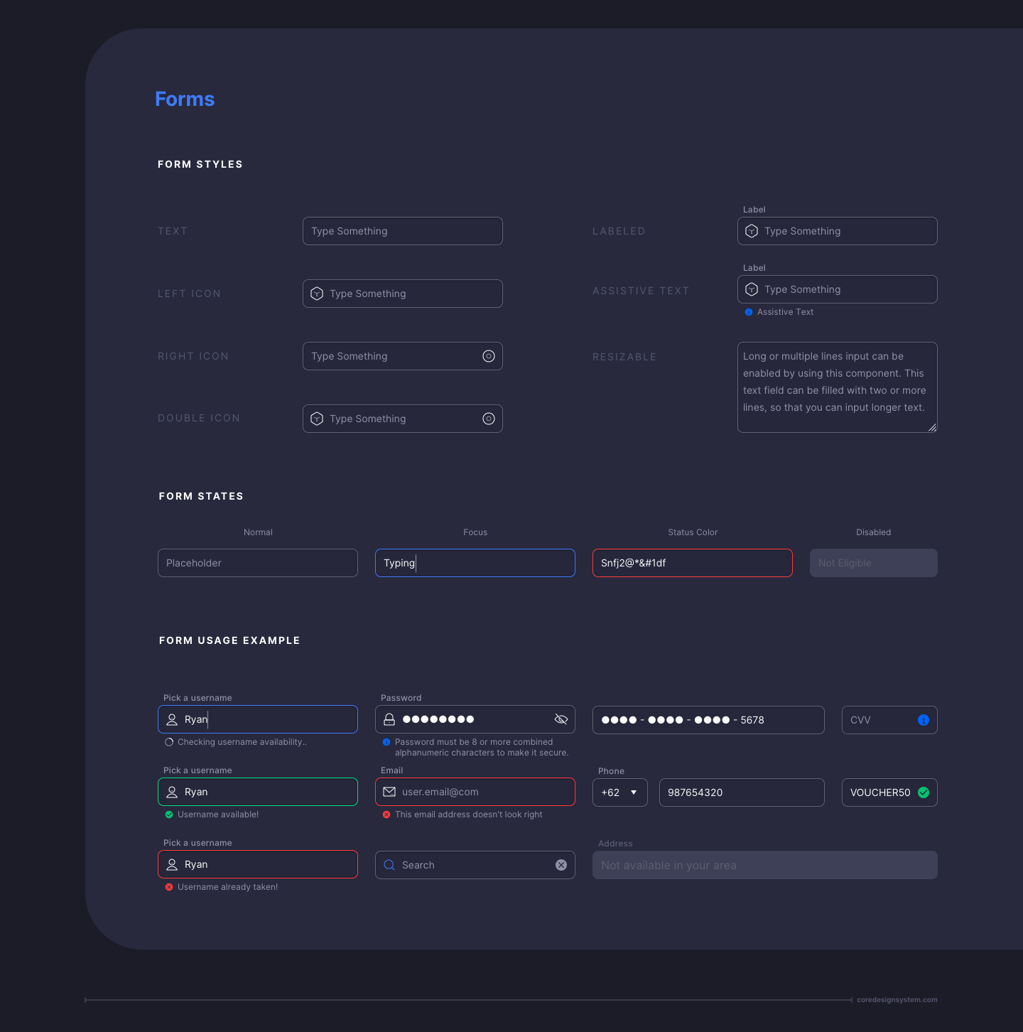 Forms UI Component in dark theme
