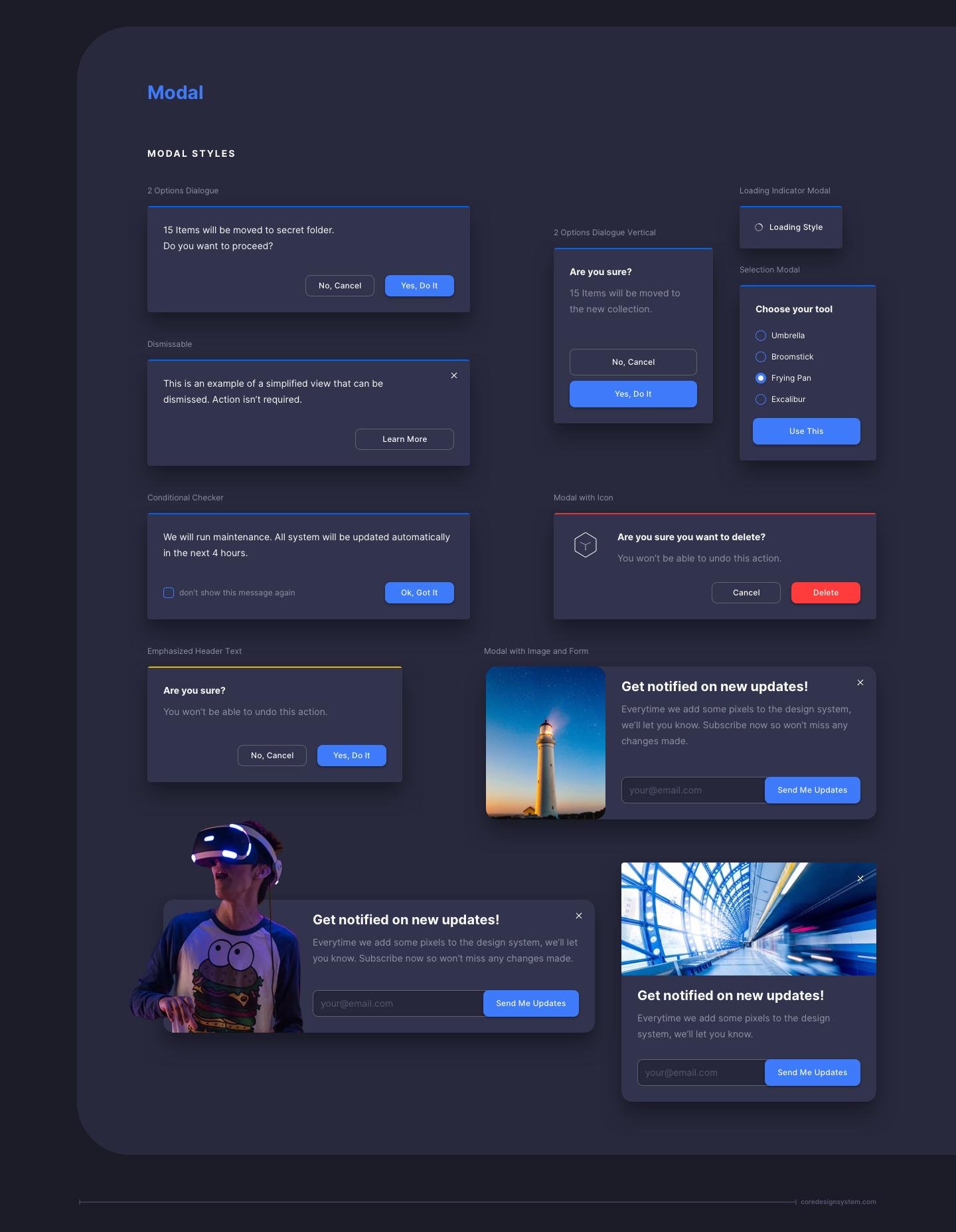 Modals UI Component in dark theme