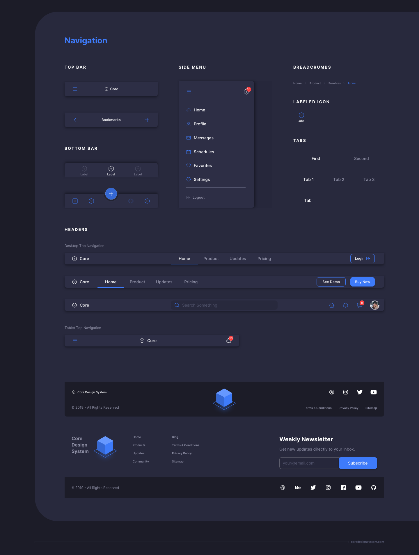 UX Design Navigation UI Component in dark theme