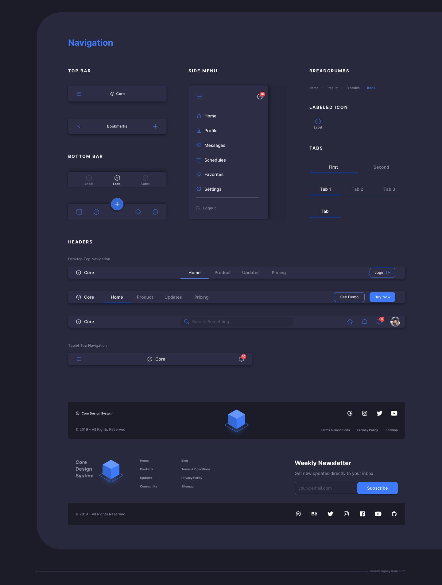 UX Design Navigation UI Component in dark theme