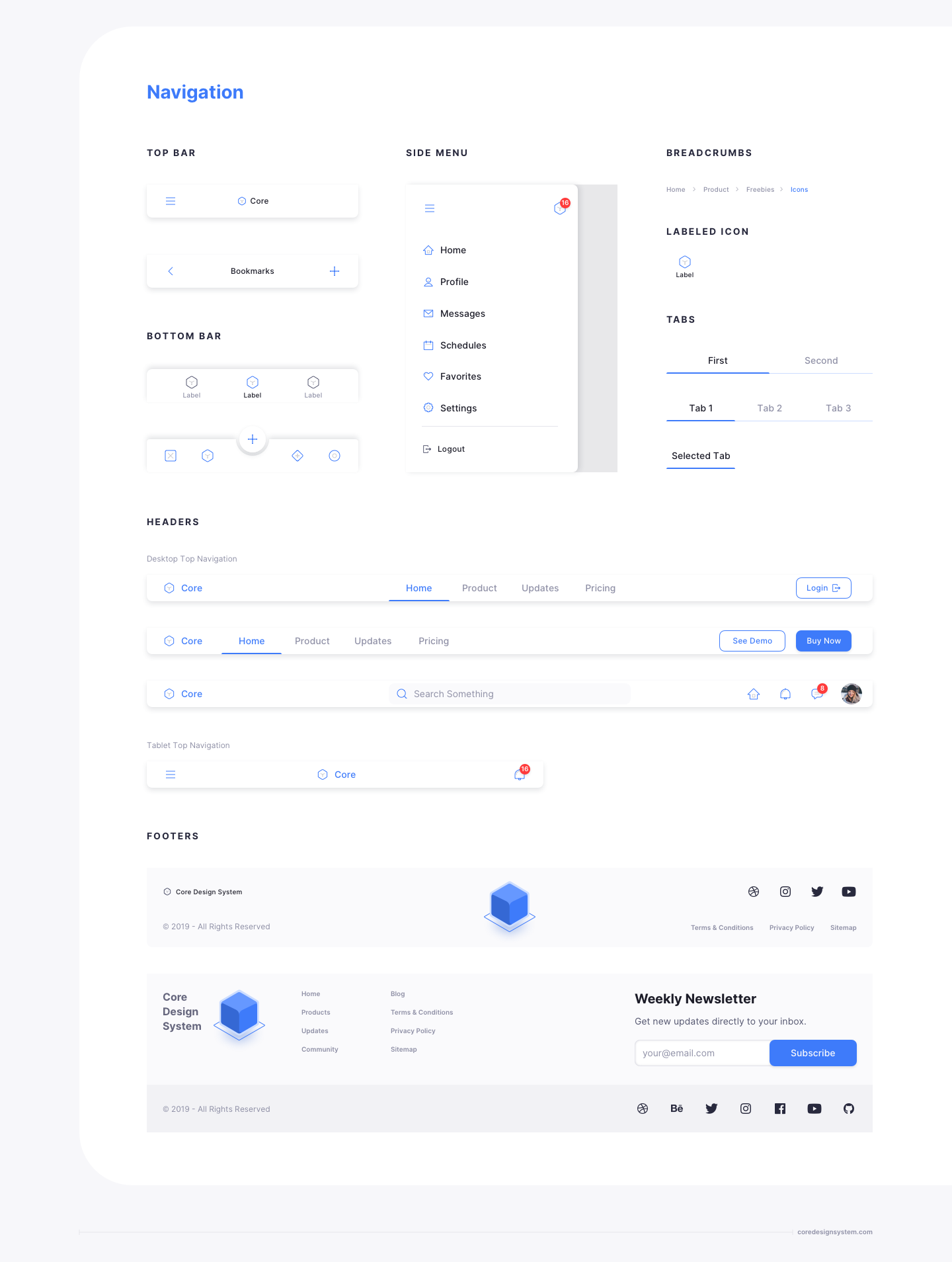UX Design Navigation UI Component in light theme